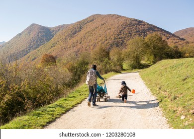 Opi, Italy - October 14th 2018 : Inside the National Park of Abruzzo, Lazio and Molise (Italy) the colors of autumn paints the nature. An amazing landscape of colored land.