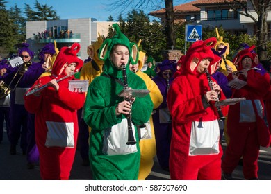 OPICINA,TRIESTE, ITALY - FEBRUARY 25: Unidentified participants in parade of the Carnival. Kraski Pust o Carnevale Carsico. The Carnival Carsico Kraski on February 25, 2017