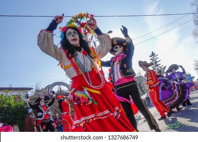 Opicina,Trieste,Italy - March 02, 2019: Unidentified participants in parade of the Carnival Kraski Pust or Carnevale Carsico. The Carnival Carsico Kraski Edition 52 on March 02, 2019 at Opicina.