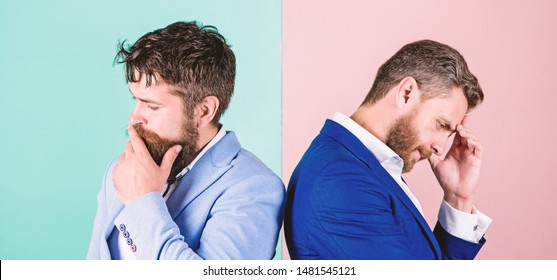 Opinion difference. Businessmen thoughtful face thinking about business problem. Business in trouble concept. Business misunderstanding. Business team work on solving problem. Different point of view.