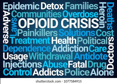 Opioid Crisis Word Cloud on Blue Background