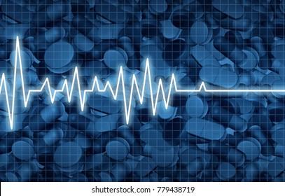 Opioid death crisis and prescription painkiller addiction epidemic concept as an ekg or ecg monitor life flatline over pills as a medical addict problem as a 3D illustration elements.