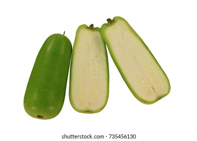 Opo or Upo known as long squash or Calabash is long narrow cylindrical vegetable smooth green skin white containing seeds inner flash flavor similar to zucchini pictured over white background