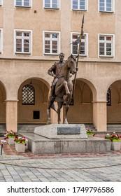 Opole, opolskie / Poland - 06 05 2020: monument to prince Kazimierz I at the market in Opole