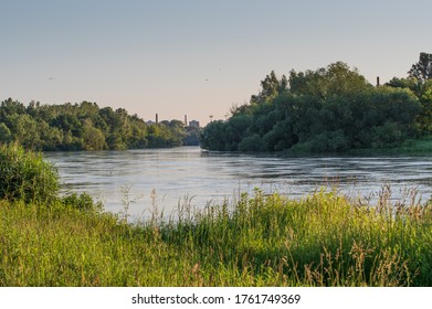 Opole, opolskie / Poland - 06 23 2020: the Odra River in Opole spills out of the riverbed
