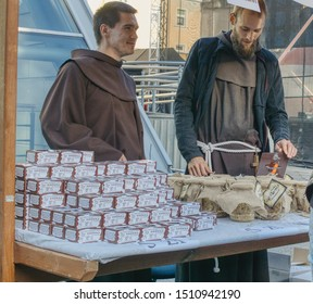 Opole, opolskie/Poland-09-21-2019: Franciscan fair, festival and performances organized by the Franciscan Order, monks sell their own confectionery on the street