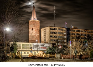 Opole / Poland - 03 21 2019: The Piast Tower in Opole at night