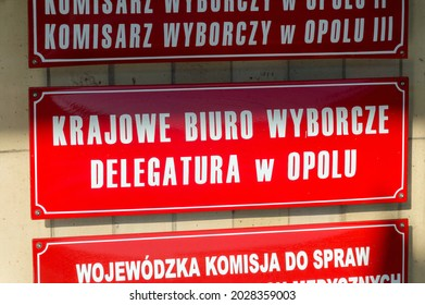 Opole, Poland - June 4, 2021: Sign National Electoral Office in Opole (Polish: Krajowe Biuro Wyborcze w Opolu) part of National Electoral Commission.