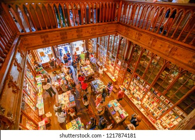 Oporto, Portugal - August 13, 2017: aerial view of Library Lello and Irmao, one of the world's most beautiful libraries in rua das Carmelitas, historic center of Porto, known for Harry Potter film.