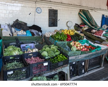 Oporto, Portugal - july 2016: Bolhao Market in Porto: Stall with Fresh Vegetables, Portugal