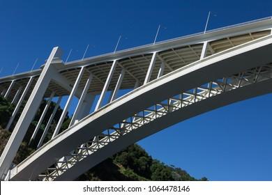 Oporto, Portugal - july 2016: Detail of Modern Higwway Bridge over Douro River in Porto, Portugal.