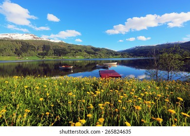 Oppheimsvatnet Lake in spring, Voss, Norway