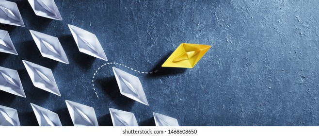 Opportunities Business Concept - Paper Boat Change Direction