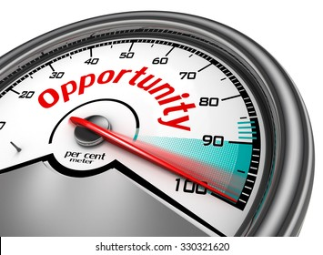 Opportunity conceptual meter indicate hundred per cent, isolated on white background