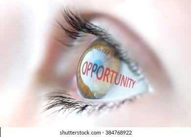Opportunity reflection in eye.