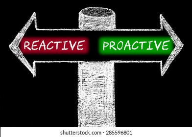 Opposite arrows with Reactive versus Proactive.