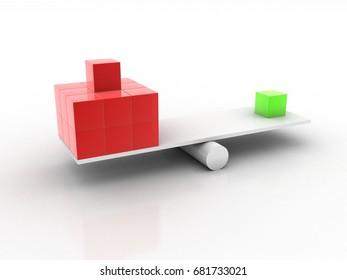 Opposite choice. 3D illustration