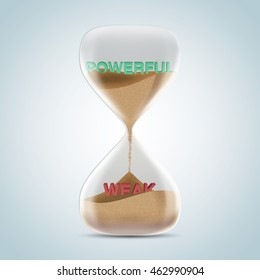Opposite wording concept in hourglass, powerful revealed after sands fall and covered weak text. 3d illustration.