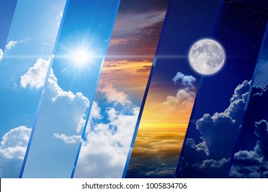 Opposites in nature: day and night, light and darkness, sun and moon. Weather forecast collage. Elements of this image furnished by NASA