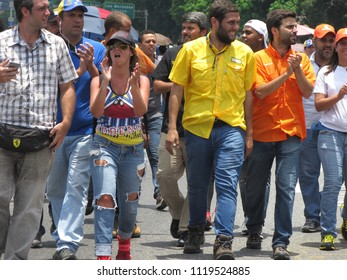 Opposition lawmaker and Deputy Juan Requesens in yellow, after begin injured by alleged pro government supporters in the activity called El Plantazo sit-in Caracas/Venezuela-April 24, 2017