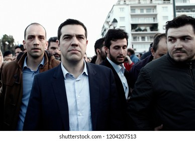 Opposition leader Alexis Tsipras of the Syriza party speaks to demonstrators during a protest against a new austerity bill in Athens, Greece on March 30 2014