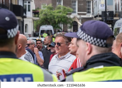 Opposition protesters clash with the police during the Al Quds Day rally, London, 10/06/18.