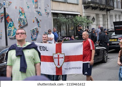 Opposition protesters watch the Al Quds Day rally, London, 10/06/18.