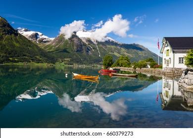 Oppstrynsvatnet lake near Stryn in Norway