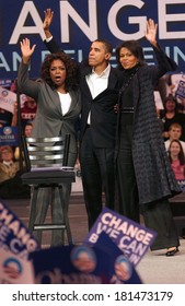 Oprah Winfrey, Barack Obama, Michelle Obama attending Barack Obama Campaign Rally for Democratic Presidential Primary with Oprah Winfrey, The Verizon Wireless Arena, Manchester, December 09, 2007
