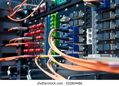 Optic cable connected to a single patch panel.