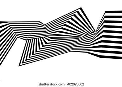 optical art, opart striped wavy background. abstract waves black and white line stripes