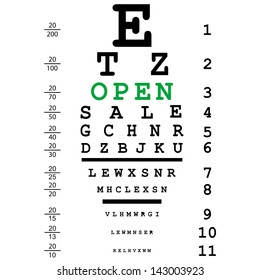 Optical eye test with open message