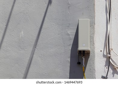 Optical fiber junction box placed in a street in Spain. Used to connect to optic fiber Internet, serving as an interconnect for the main signal to the one in houses and building.