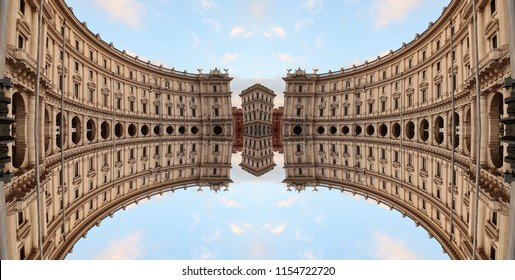 Optical illusion of the buildings of republic square (Piazza della Republicca) in Rome, Italy. The illusion was made using a mirror effect.
