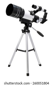 Optical telescope isolated on white background