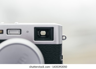 Optical view finder on a vintage old camera close up still