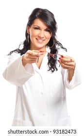Optician or oculist woman giving a pair of glasses