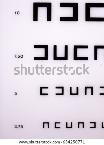 Opticians Ophthalmology Optometry Eye Test Chart Stock Photo Edit