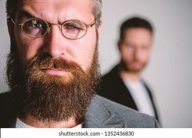 Optics and vision concept. Eyeglasses accessory for smart appearance. Wise glance. Hipster style and fashion. Hipster eyeglasses. Man handsome bearded hipster wear eyeglasses. Eye health and sight.