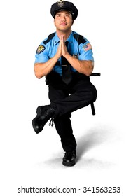 Optimistic Asian man with short black hair in uniform with meditation hands - Isolated