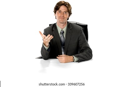 Optimistic Caucasian man with short dark brown hair in business formal outfit pointing using palm - Isolated