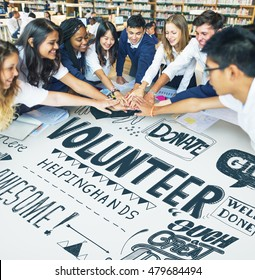 Optimistic Students Together Volunteering Concept