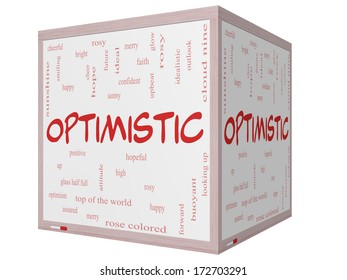 Optimistic Word Cloud Concept on a 3D cube Whiteboard with great terms such as hopeful, upbeat, happy and more.