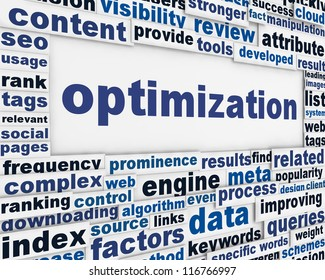 Optimization message background. Process optimization poster conceptual design