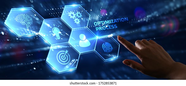 Optimization Software Technology Process System Business concept. Business, Technology, Internet and network concept.