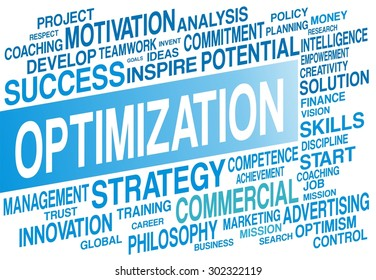 OPTIMIZATION word cloud concept in blue color
