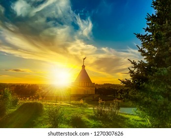 The Optina Pustyn, an Eastern Orthodox monastery for men near Kozelsk in Russia at sunset. In the 19th century, the Optina was the most important spiritual centre of the Russian Orthodox Church