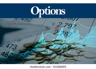 Options - Abstract digital information to represent Business&Financial as concept. The word Options is a part of stock market vocabulary in stock photo