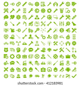 Options and service tools icon set with 144 icons. Glyph style is flat symbols, eco green color, rounded angles, white background.