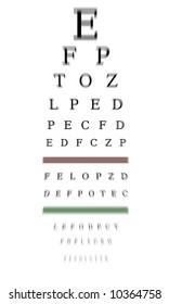Optometrist chart with blur effect